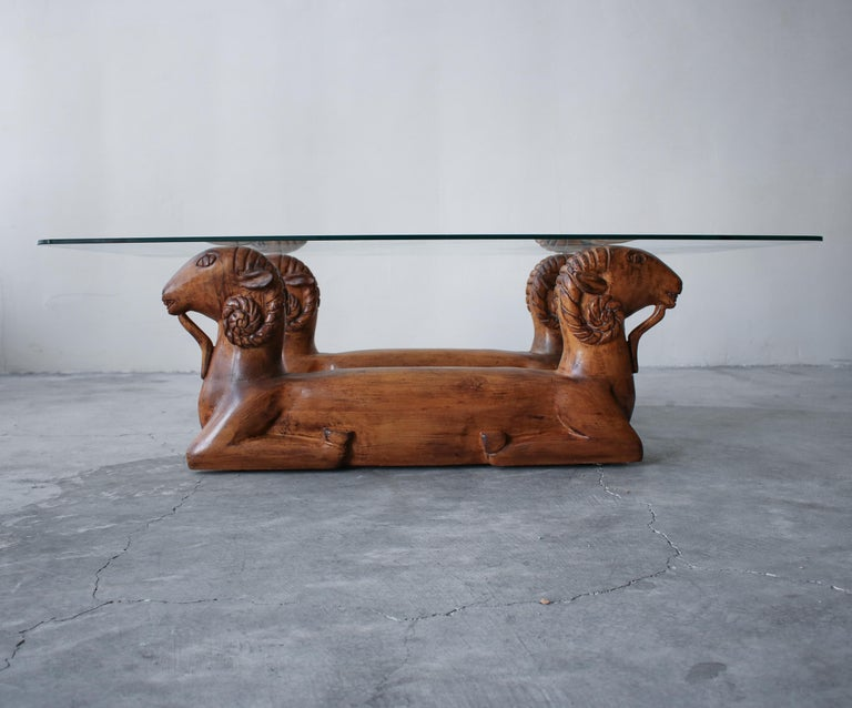 Hand-Carved Carved Wood Double Rams Head Coffee Table For Sale