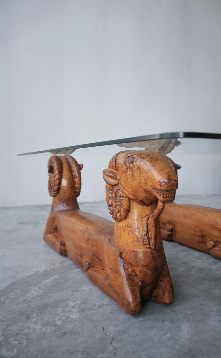 Carved Wood Double Rams Head Coffee Table For Sale 1