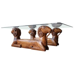 Carved Wood Double Rams Head Coffee Table