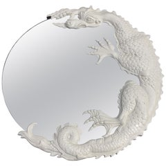 Carved Wood Dragon Designer Wall Mirror, White
