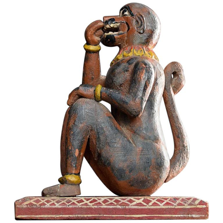 Carved Wood Early 20th Century Monkey Figure