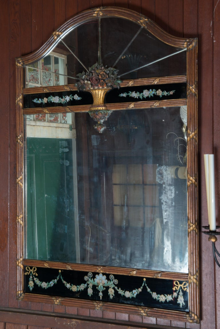 Early 20th Century Carved Wood and Églomisé Mirror For Sale