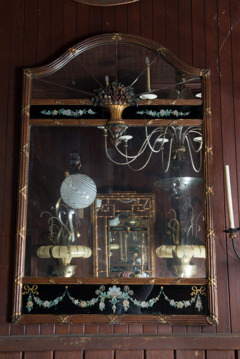 Glass Carved Wood and Églomisé Mirror For Sale