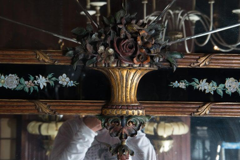 Carved Wood and Églomisé Mirror For Sale 3