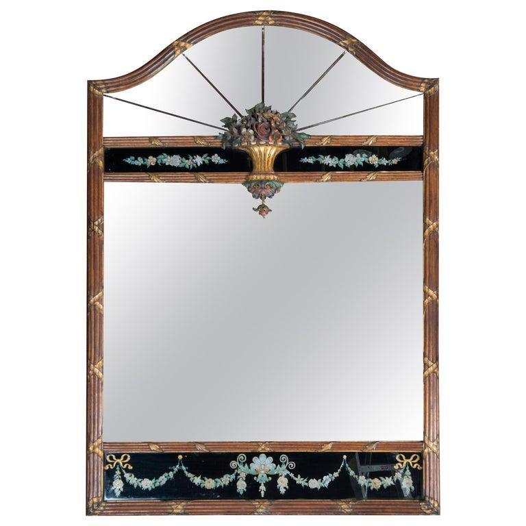 Carved Wood and Églomisé Mirror For Sale