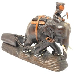 Carved Wood Elephant Handcrafted Indonesia, circa Mid-20th Century