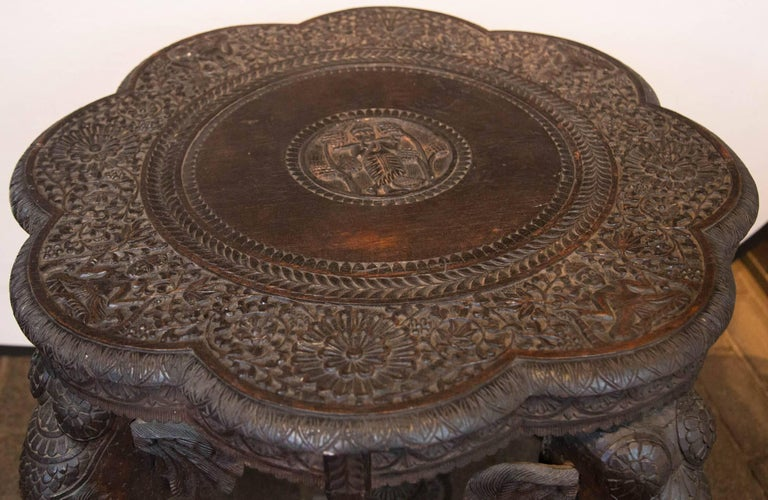 Carved Wood Elephant Table In Good Condition For Sale In Stamford, CT