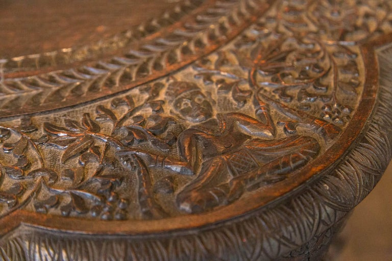 Carved Wood Elephant Table For Sale 1