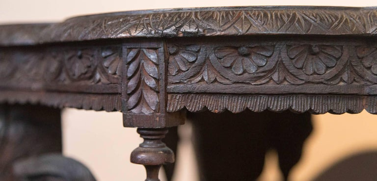 Carved Wood Elephant Table For Sale 5
