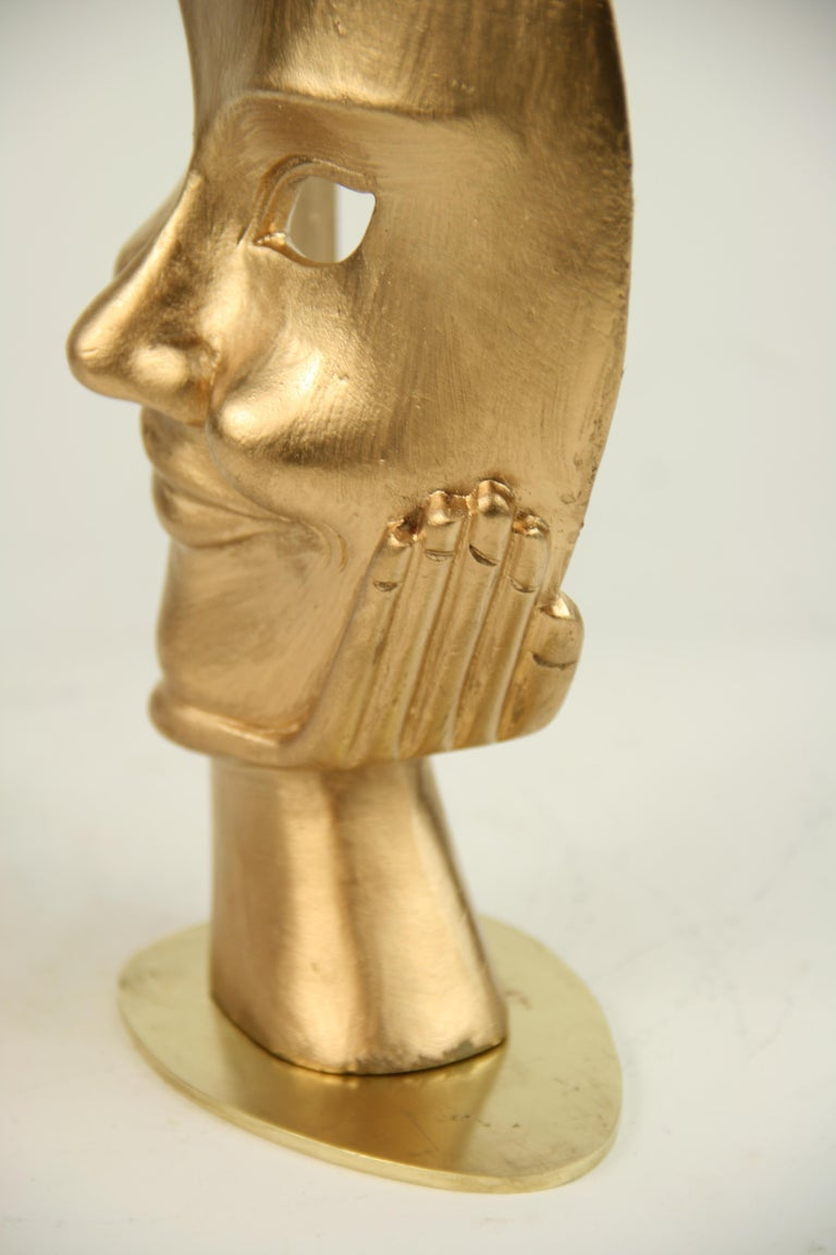 Late 20th Century Carved Wood Facial Sculpture on Brass Base For Sale