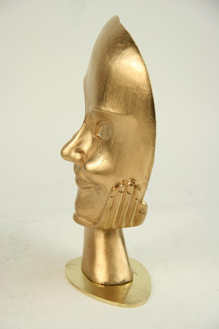 Carved Wood Facial Sculpture on Brass Base For Sale 1