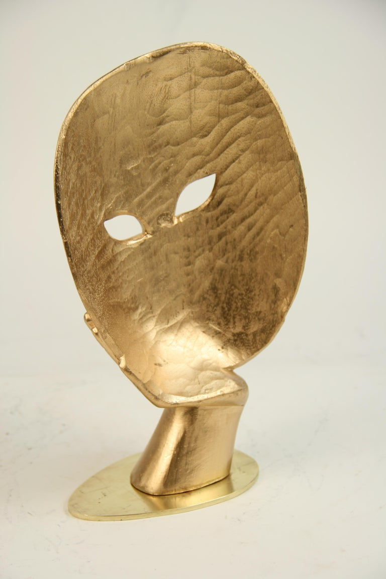 Carved Wood Facial Sculpture on Brass Base For Sale 2