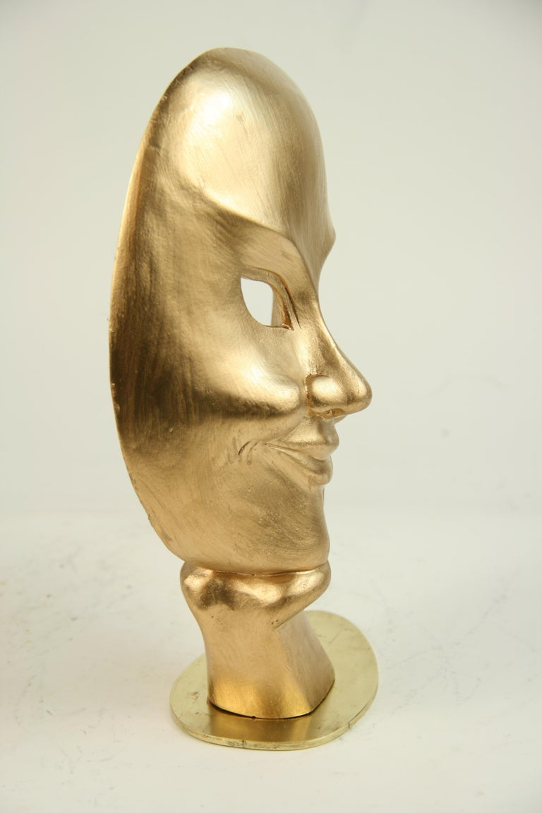 Carved Wood Facial Sculpture on Brass Base For Sale 3
