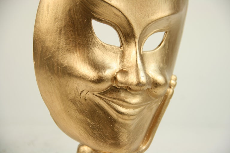 Carved Wood Facial Sculpture on Brass Base For Sale 4