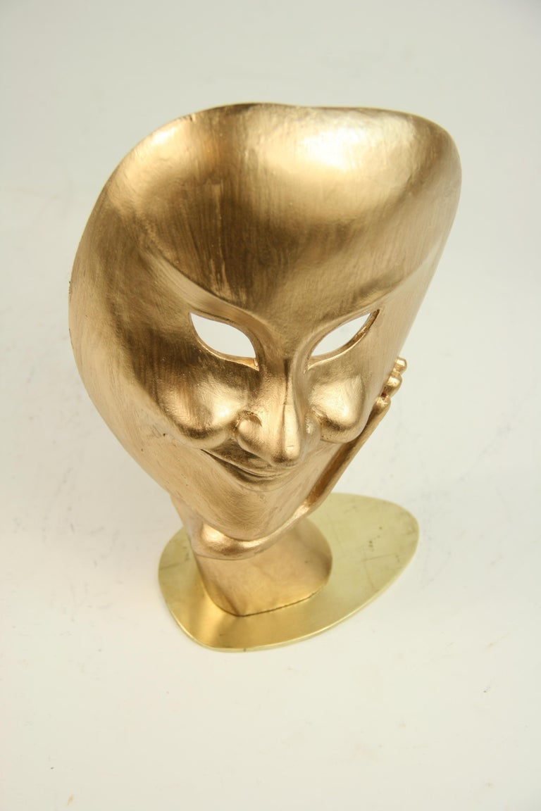 Carved Wood Facial Sculpture on Brass Base For Sale 5