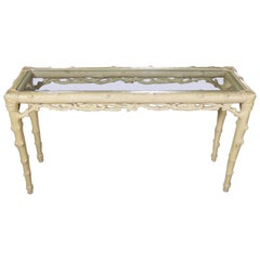 Carved Wood Faux Bois Sofa Console Table Ivory Painted Finish & Glass Top Insert