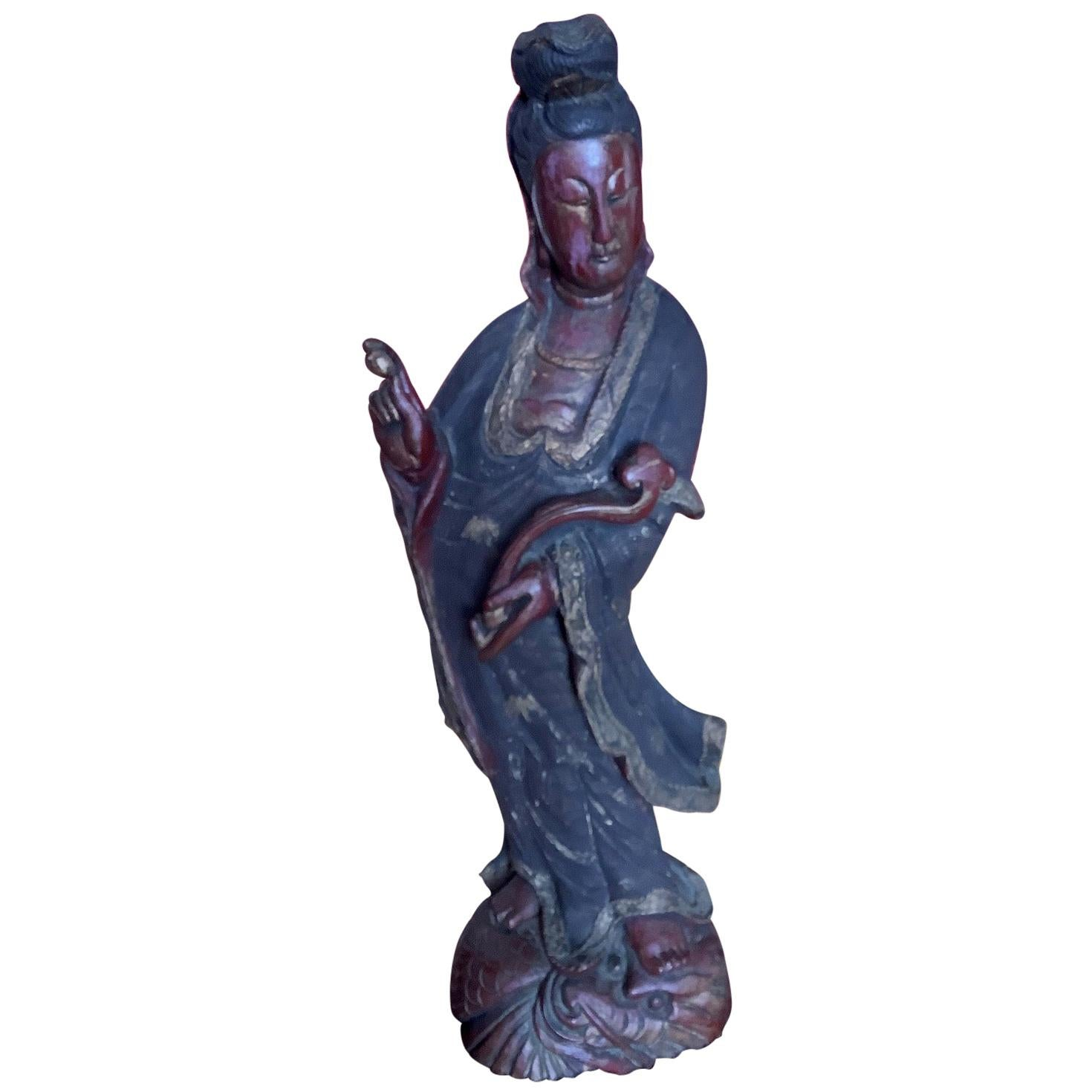 Standing Chinese Carved Wood Guanyin Figure, Circa 1920's