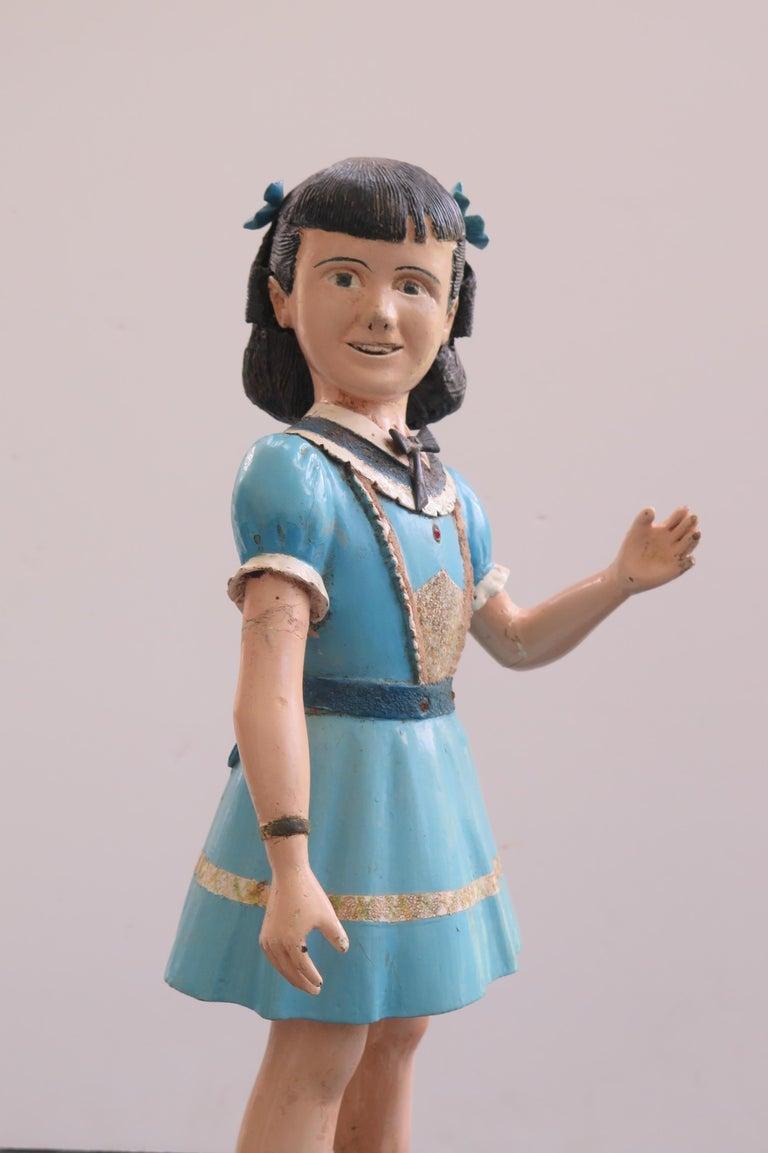 American Carved Wood Folk Art Girl For Sale