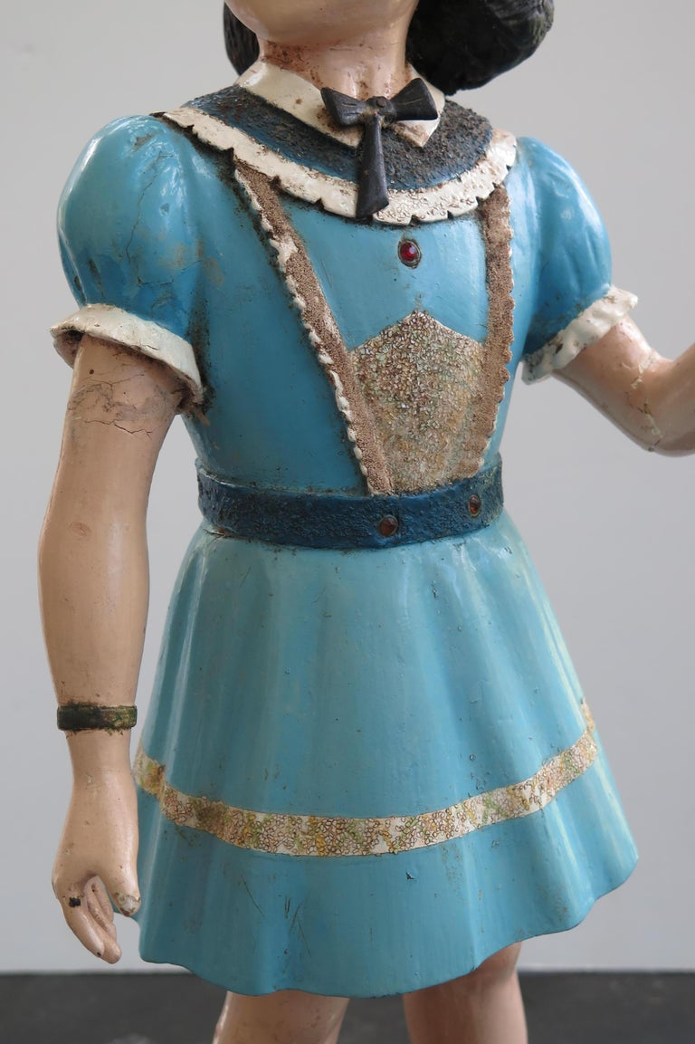 Mid-20th Century Carved Wood Folk Art Girl For Sale