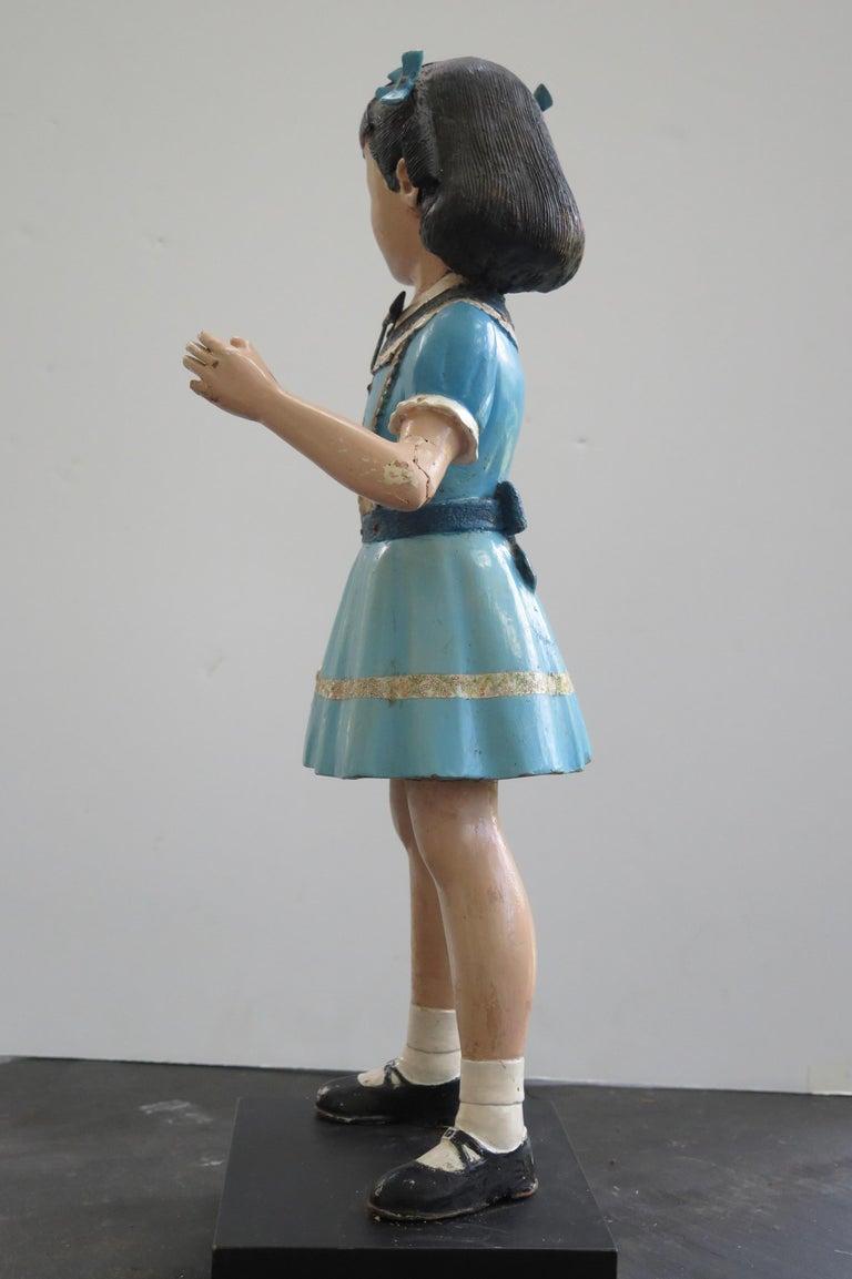 Carved Wood Folk Art Girl For Sale 2