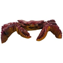 Carved Wood Giant Crab Sculpture