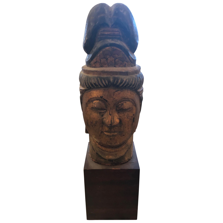 Carved Wood Gilded Asian Bust on Ebonized Wood Base
