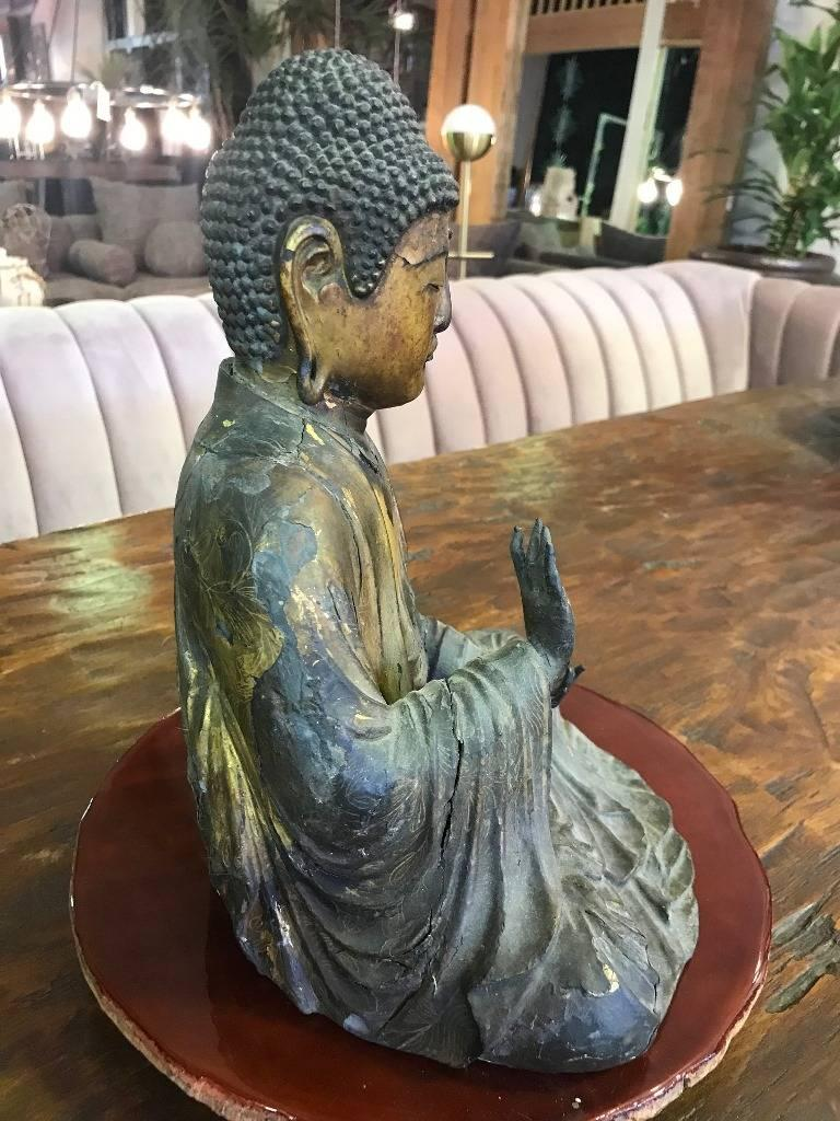 Carved Wood & Gilt-Lacquered Sculpture of Seated Japanese Buddha 'Amida Nyorai' For Sale 5