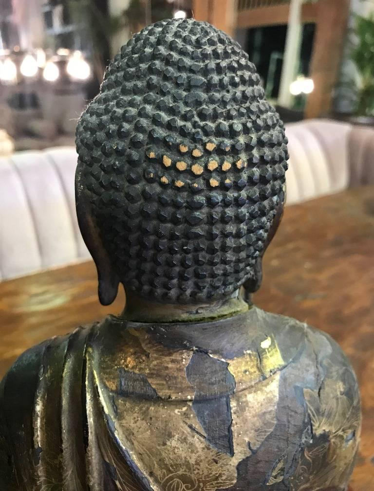 Carved Wood & Gilt-Lacquered Sculpture of Seated Japanese Buddha 'Amida Nyorai' For Sale 9
