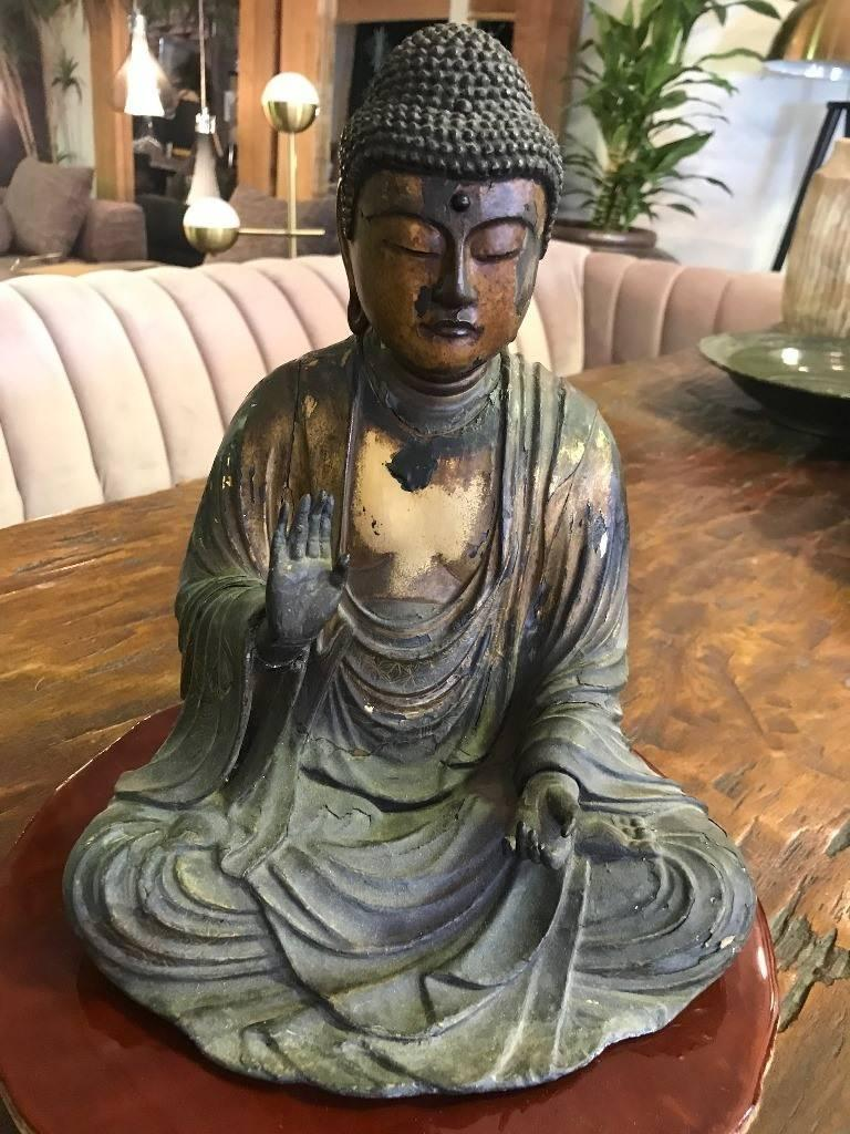 Carved Wood & Gilt-Lacquered Sculpture of Seated Japanese Buddha 'Amida Nyorai' For Sale 11