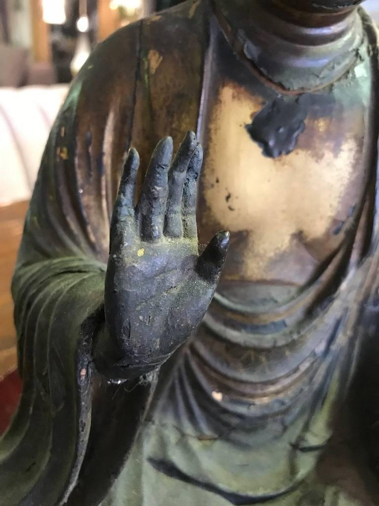 19th Century Carved Wood & Gilt-Lacquered Sculpture of Seated Japanese Buddha 'Amida Nyorai' For Sale