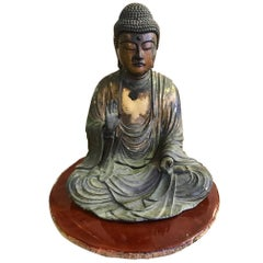 Carved Wood & Gilt-Lacquered Sculpture of Seated Japanese Buddha 'Amida Nyorai'