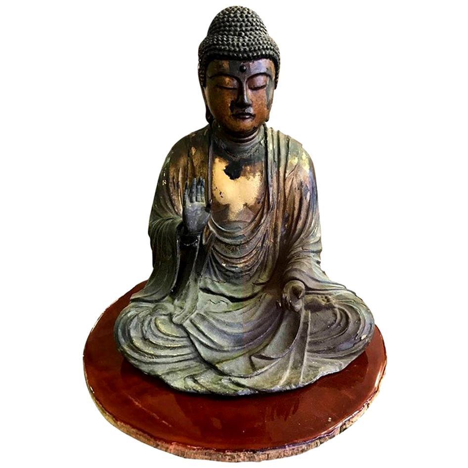 Carved Wood & Gilt-Lacquered Sculpture of Seated Japanese Buddha 'Amida Nyorai'
