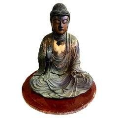 Carved Wood Gilt-Lacquered Sculpture of Seated Japanese Edo Buddha Amida Nyorai