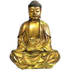 Carved Wood & Gilt-Lacquered Seated Japanese Temple Shrine Buddha 'Amida Nyorai'