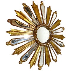 Carved Wood Gilt Sunburst Mirror