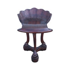 Carved Wood Grotto Style Shell Stool