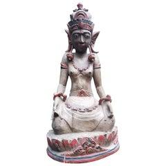 Geschnitzte Hindu oder Tibetanische gekrönte Göttin