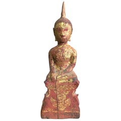 Carved Wood, Lacquered and Gilt Seated Asian Temple Shrine Buddha