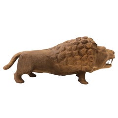 Carved Wood Lion Sculpture in the Manner of Evelyn Ackerman