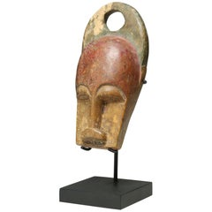 Carved Wood Miniature Baule Bushcow Mask on Stand Ivory Coast Early 20th Century