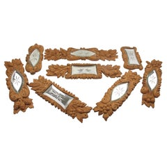 Carved Wood, Mirror Architectural Ornament Sculpture, 8 pc, early 20th Century