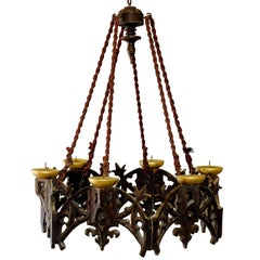 Carved Wood Neogothical Chandelier for Candles
