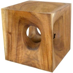 "Carved Wood ""Opened Cube"" Sculpture by Aleph Geddis"