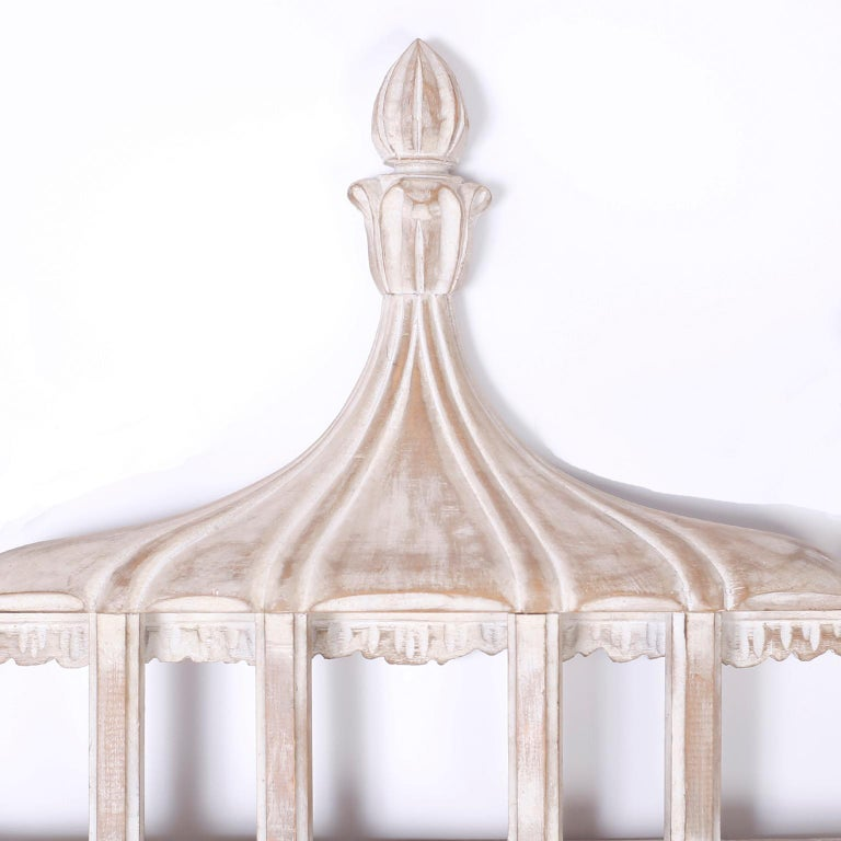 Chinoiserie Carved Wood Pagoda Wall Mirror For Sale