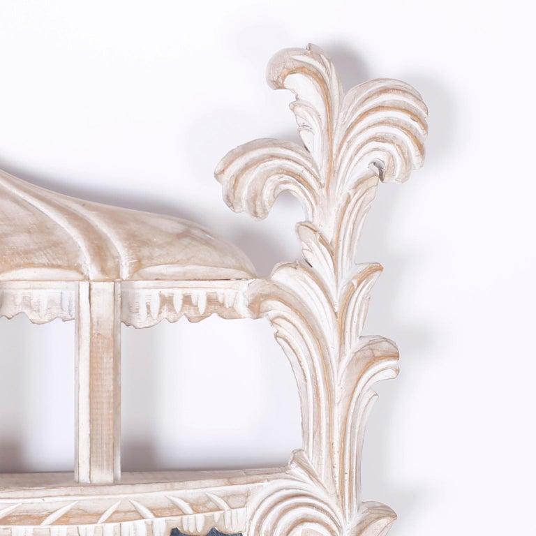 Italian Carved Wood Pagoda Wall Mirror For Sale