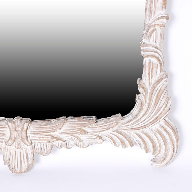 Hand-Carved Carved Wood Pagoda Wall Mirror For Sale