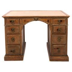 Carved Wood Partner's Desk