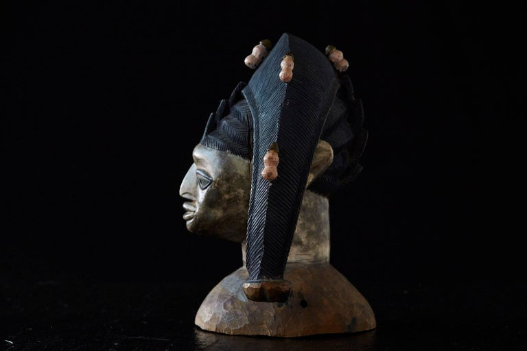 Tribal Polychrome Egungun Headdress, Yoruba People, Oyo, Nigeria circa 1940 For Sale