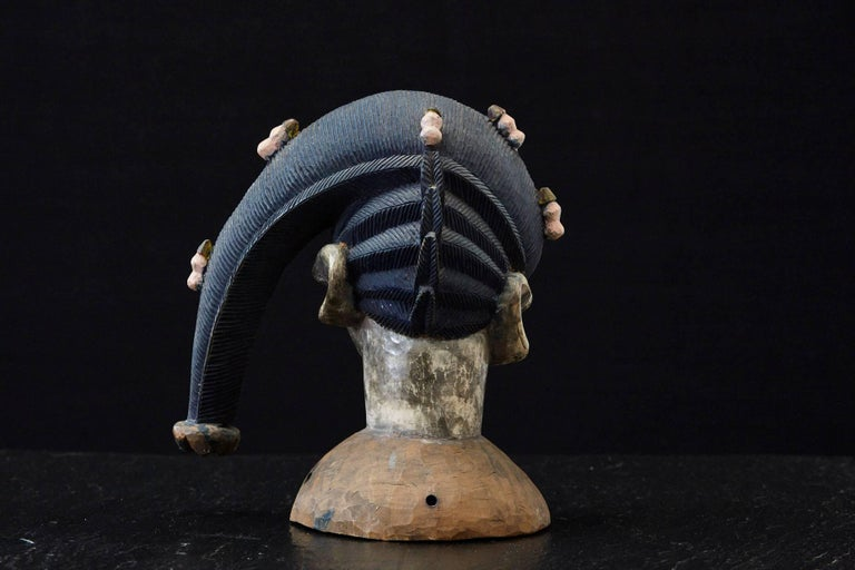 Nigerian Polychrome Egungun Headdress, Yoruba People, Oyo, Nigeria circa 1940 For Sale