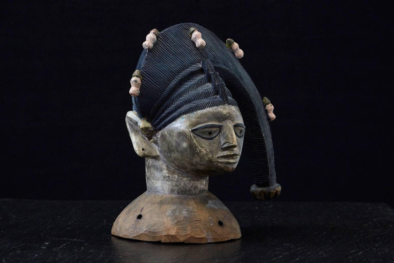 Polychrome Egungun Headdress, Yoruba People, Oyo, Nigeria circa 1940 In Excellent Condition For Sale In Westport, CT